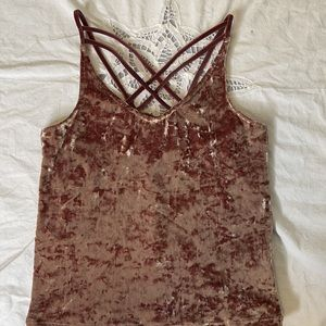 American Eagle plum crushed velvet strappy tank S